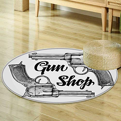 Mikihome Round Area Rug Western Decor Modern Western Movies Cowboy Texas Times Sketchy Two Guns Pistols Image Black and White Living Dinning Room & Bedroom Rugs R-47 by Mikihome