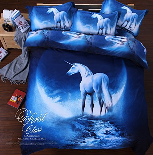 Cliab Unicorn Bedding Blue for Kids Boys Girls Queen Size Duvet Cover Set 7 Pieces(Fitted Sheet Included)