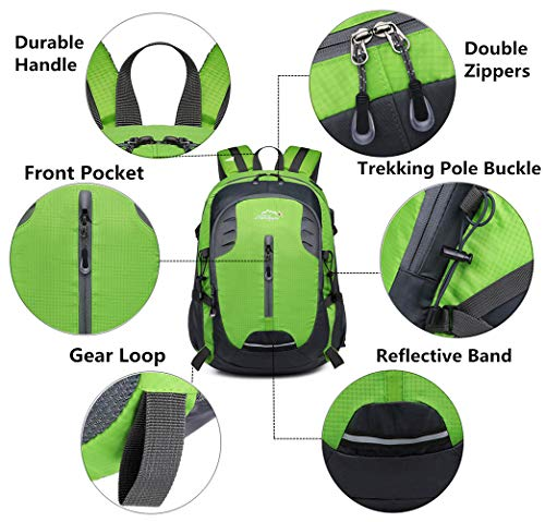 Sports Cover 30L Laptop Trekking Waterproof Lightweight Rain Daypack Bag Rucksacks with Backpack 15Inch Green USB Hiking Travel Outdoor CUPqnwrxC