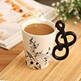 Novelty 3D Handle Music Mug Unique Art Musical Notes Holds Tea Coffee M Deal (Small Image)