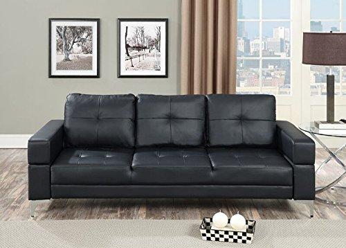 Poundex Scilla Black Faux Leather Adjustable Sofa Bed
