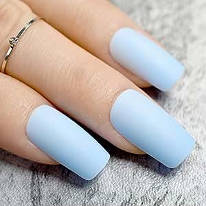 Amazon.com : Pure Light Blue Matte Fake Nails Medium Flat ...