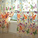 Floral Butterfly Sheer Curtains Sheers Voile Tulle Window Curtain 100x200cm