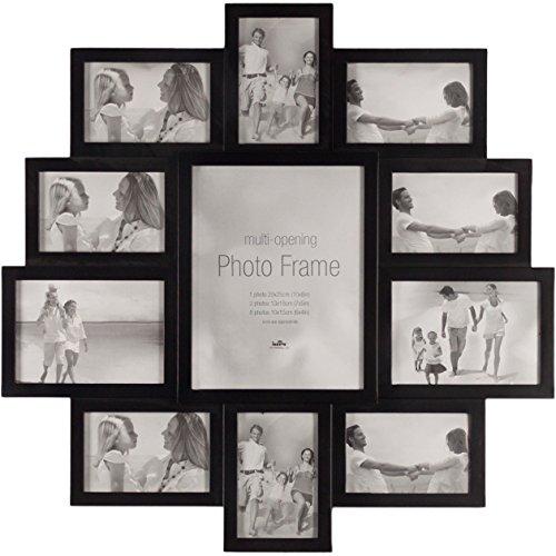 Smartfox Bilderrahmen Fotorahmen Collage für 11 Fotos (6x 10x15cm, 4x 13x16cm, 1x 20x25cm) in Schwarz, Größe: 61x61cm