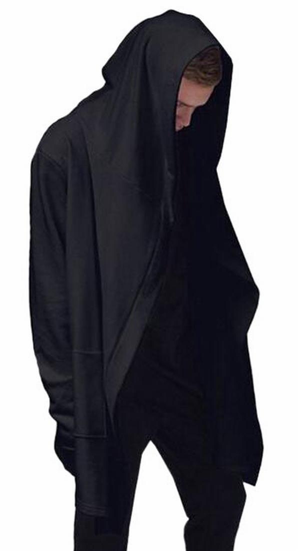 ONTBYB Mens Black Long Hooded Cardigan Large Cape Cloak Coat Black XXL