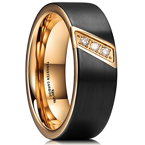 (King Will GEM 8mm Black Tungsten Carbide Ring 18K Rose Gold Plated CZ Stone Inlay Wedding Band for)