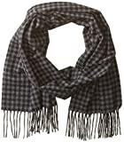 Phenix Cashmere Men's Houndstooth Scarf, Charcoal/Black, One Size