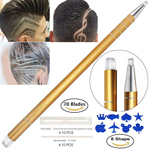Professional Barber Hair Eyebrow Tattoo Razor Pen For Men & Women  Best Hair Cutting Device For Hair Art Design (Engraving Pen + 20 Stainless Steel Blades + Tweezers) Magic Haircut Razor Point Kit