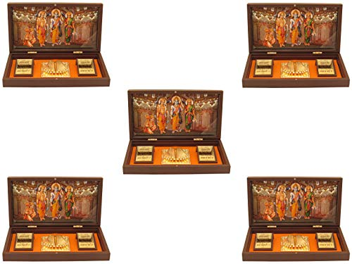 24k Gold Plated Frame - GoldGiftIdeas 24K Gold Plated Ram Darbar Photo Frame with Charan Paduka, Ayodhya Nandan Wooden Momento Gift, Return Gift for Housewarming, Prosperity Gift, Decorative Item Showpiece Idol (Pack of 5)