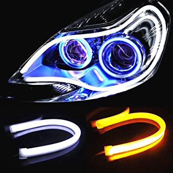 Amazon autoxon 2x 23inch dual color led strip tube white amber amazon autoxon 2x 23inch dual color led strip tube white amber switchback headlight drl and turn signal light automotive aloadofball Images