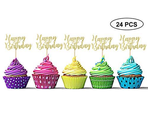 Sumerk 24PCS Happy Birthday Cupcake Toppers Gold Glitter Birthday Cake Picks Party Supplies