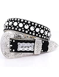 Western Girl's Kids Clear Crystal Black Leather Show Belt