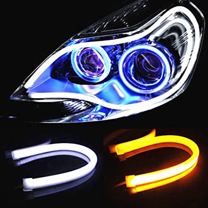 AUTOXON 2x 23inch Dual Color LED Strip Tube White-Amber Switchback Headlight DRL and Turn Signal Light