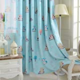 """1 panel Childrens Blackout Curtains,Room Decor for Childrens Living Room Bedroom (54"""" by 63"""", Blue Owl)"""