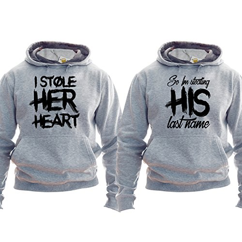 I Stole Her Heart I Stole His Last Name Pullover Matching Couple Pullover Couple Engagement Outfit