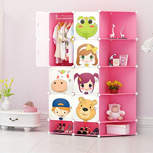NEW Kids 2017 8 Cubes Wardrobe Childrens Storage Cabinet Boxes Character Design Shoes Storage Corner Storage Cubes Pink Green Blue (Blue) toyzz