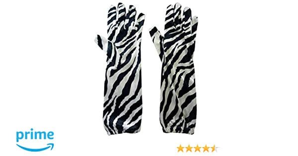 Black// White Zebra Print Velvet Feel Long Length Gloves Fancy Dress//Prom HW171