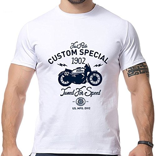 2016 New Design Motorcycle Printing T Shirts Short Sleeve O Neck Strong Men Shirts Size M
