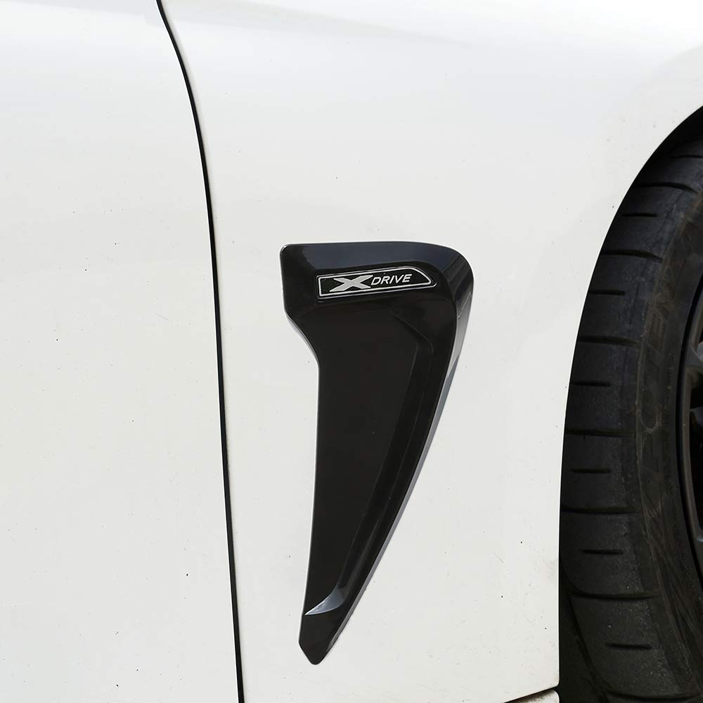 AUTO Pro for BMW F30 F31 F32 F33 F48 Gloss Black White Xdrive Emblem Logo?ABS Plastic Shark Gills Side Fender Vent Decoration 3D Stickers Auto Accessories