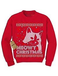 Expression Tees Meowy Chirtsmas Ugly Christmas Holiday Crewneck Sweatshirt