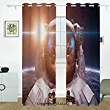 Space Cat Grommet Blackout Window,Brave Astronaut Kitty in Space Suit Above World with Lunar Eclipse Backdrop,for Bedroom&Living Room&Patio Sliding Doors,2 Panels Set,108 X 84 Inches,White Blue