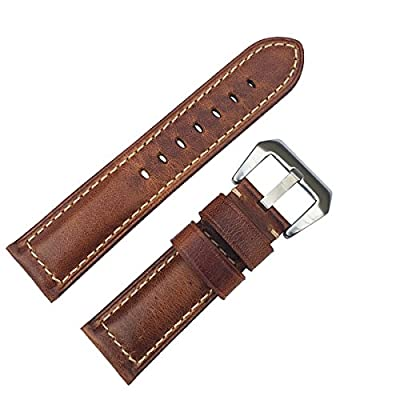 LEESTING Top Genuine Grain Leather Watch Strap Band Brown with Stainless Steel Buckle
