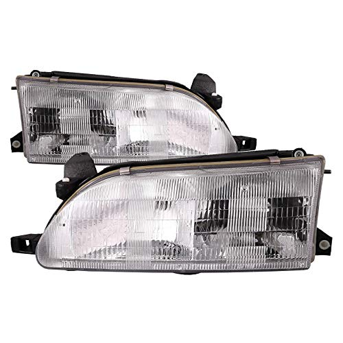 HEADLIGHTSDEPOT Compatible with Toyota Corolla Sedan/Wagon New Headlights Set Headlamps Pair