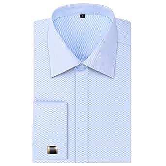 Alimens gentle men 39 s dress shirts french cuff long for Cufflinks on regular dress shirt