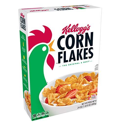 Kellogg's Corn Flakes, Breakfast Cereal, Original, Fat-Free, 24 oz Box (Kelloggs Breakfast)