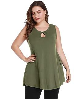 caa881b3d9c MONNURO Womens Sleeveless Plus Size Shirts Swing Flowy Round Neck Long Tunic  Tank Tops L-