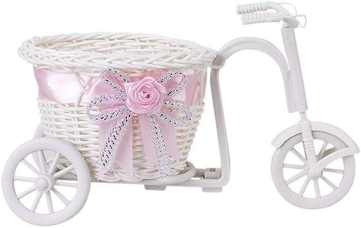 Sonline Ratan Flor Cesta Triciclo Bicicleta Para Florero Jarron ...