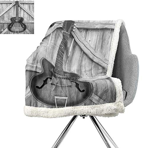 ScottDecor Western Lightweight Fluffy Flannel and Sherpa Blanket,Vintage Acoustic Instrument Guitar Hanged on Old Wooden Door Fences Country Ranch,Grey Black,Print Summer Quilt Comforter W59xL47 Inch