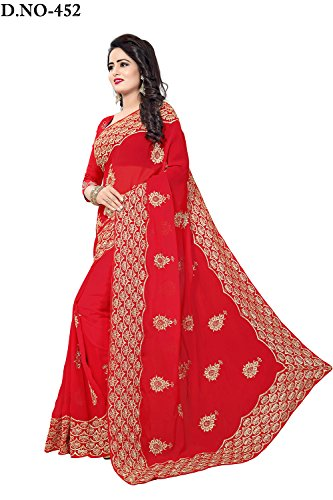 60 Designer Sarees Black Party Women Wear For In Color Georgette Indian Red GM XBwHUvqxH