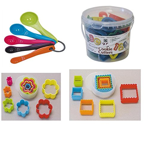 4 SET 36 Plastic ABC Alphabet Number Cookie Cutters, Square Cookie cutter, Flower Cookie Cutter Set and Matching Measuring Cup and Spoon Set