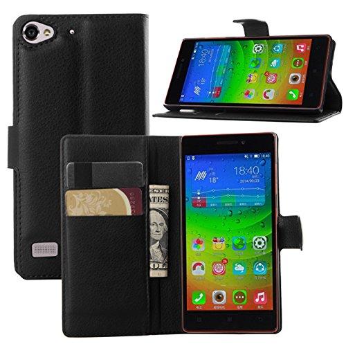 Premium Leather Wallet [ Flip Bracket ] Case Cover for Lenovo Vibe X2 (Wallet - Black)