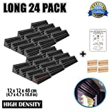 Dragon Dash (24 Pieces) of 4.7 x 4.7 x 18.8 Inches Black Acoustic Soundproofing Long Bass Trap Foam Studio Treatment Wall Panel Tiles DD1138