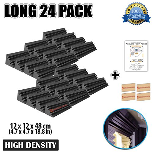 Dragon Dash (24 Pieces) of 4.7 x 4.7 x 18.8 Inches Black Acoustic Soundproofing Long Bass Trap Foam Studio Treatment Wall Panel Tiles DD1138 by Dragon Dash Egg Crate Acoustic Foam