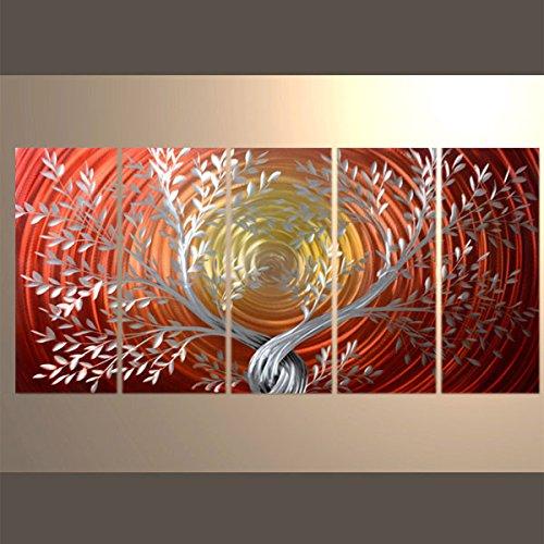 【現代アート工房】 メタルアート 現代絵画 立体感のあるモダンアート ハンドメイド作品 ナチュラルライン 木A 2FMA-443 30×80cm-5 B01NBVAXAZ 木A 木A