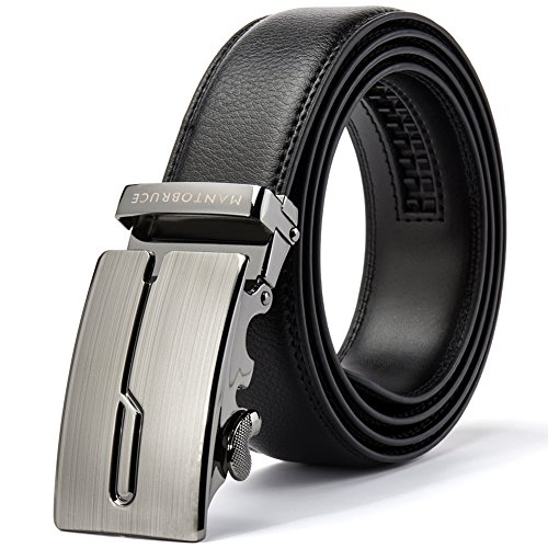Belts for Men Leather with Automatic Ratchet Buckle Contactor Embossed Black Strap Width: 1.38