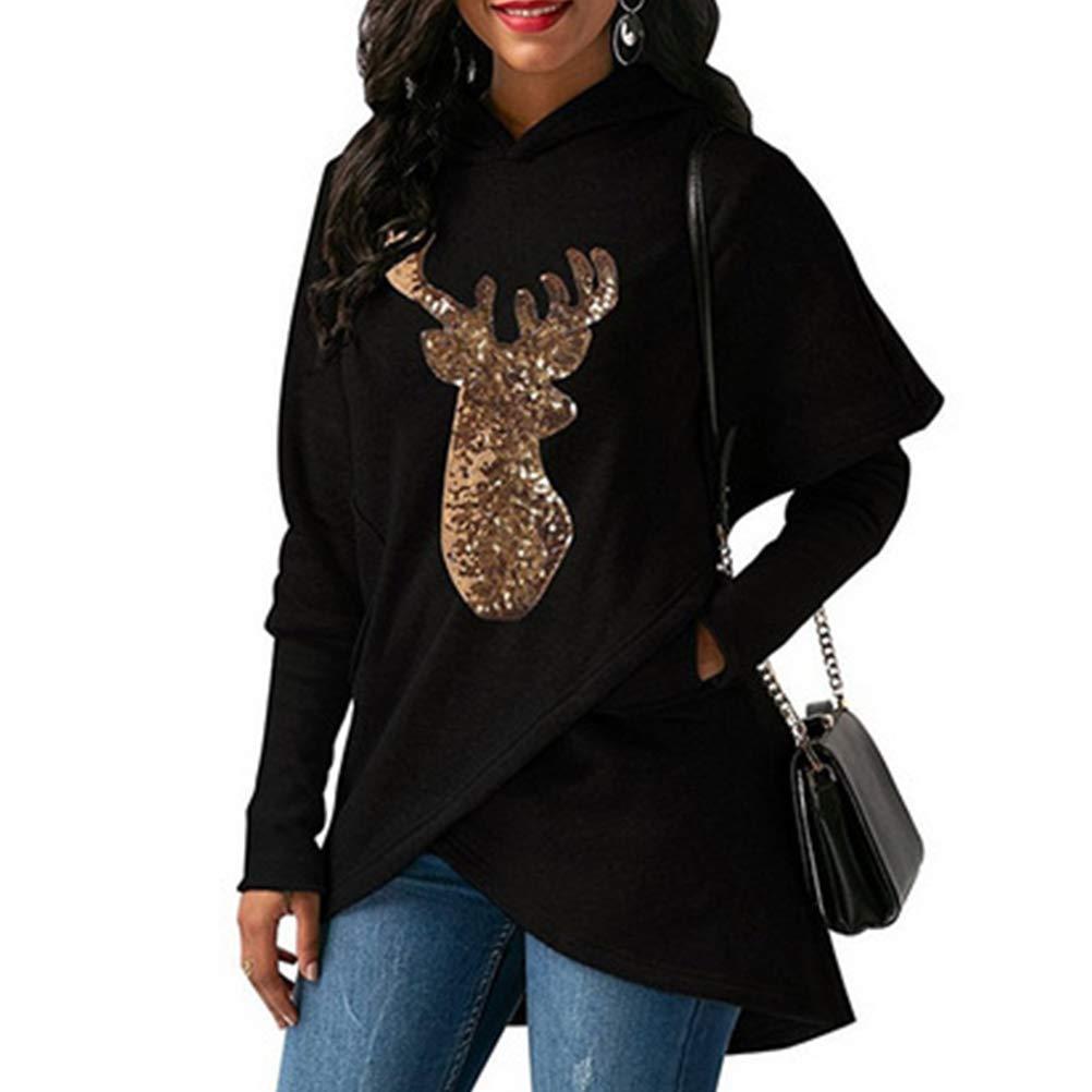 CrazyTiger Women Casual Elk Print Asymmetric Hem Wrap Long Sleeve Hoodie Sweatshirt Tops Ugly Christmas Sweater