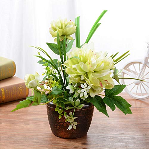 Meen Artificial Flowers, Creative Fashion Decoration Peony Flower Pot Landscape Artificial Flower Artificial Artificial Plant (Color : Green)