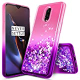 OnePlus 6T Case, NageBee Glitter Liquid Quicksand Waterfall Floating Flowing Sparkle Shiny Bling Diamond Girls Cute Case for The OnePlus 6T Smartphone (2018) -Pink/Purple