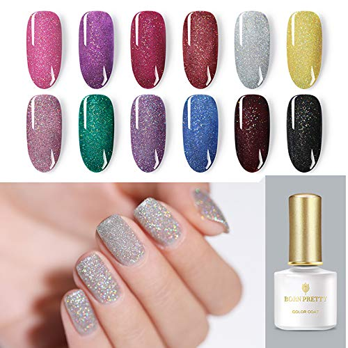 BORN PRETTY Holographic Nail Polish Gel, UV Glitter Rainbow