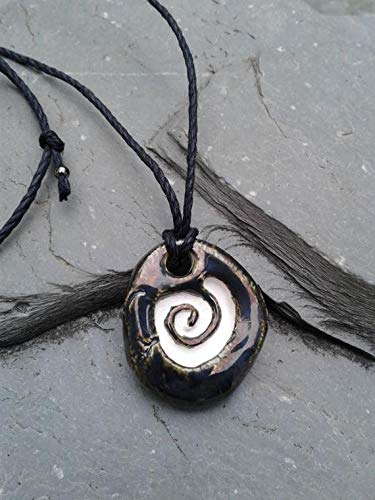 (Spiral Aromatherapy Necklace Antiqued Pewter Ceramic Essential Oil Diffuser Pendant Clay Amulet)