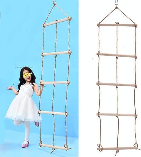 MALY Escalera de Cuerda, Trapecio de Madera y Columpio Escalera de Cuerda Gigante 5 Capas y
