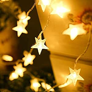 WONFAST 4M 40 LED Stars Battery Operated Wall Fairy String Lights Decorative Lighting for Home Wedding Birthday Indoor Outdoor Use (Warm White)
