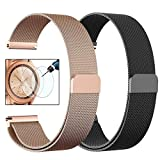 CAGOS Samsung Galaxy Watch (42mm) /Galaxy Watch Active Bands Sets, 20mm Metal Band+Milanese Loop Mesh Bracelet Strap for Galaxy Watch 42mm/Gear Sport/Ticwatch E Smartwatch- Small
