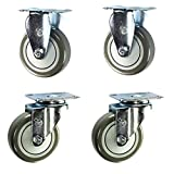 4'' Stainless Steel Casters - 2 Swivel 2 Rigid - Non-marking Polyurethane Wheel - Set of 4