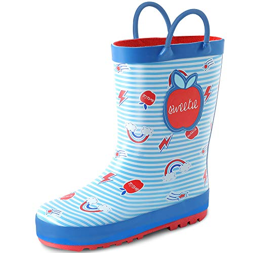KushyShoo Kids Girl Rain Boots with Easy-On Handles, Rubber Rainboots for Girls (Toddler/Little Kids/Big Kids) Blue ()