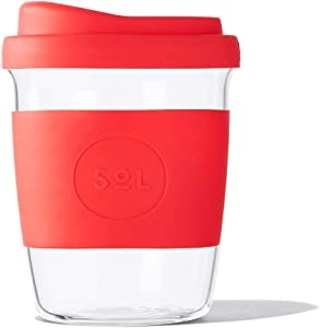 Glass Coffee Travel Cup by Sol - 8oz Clear Lightweight Reusable Mug Tumbler with Lid, Perfect To Go for Iced or Hot Beverages - Rocket Red